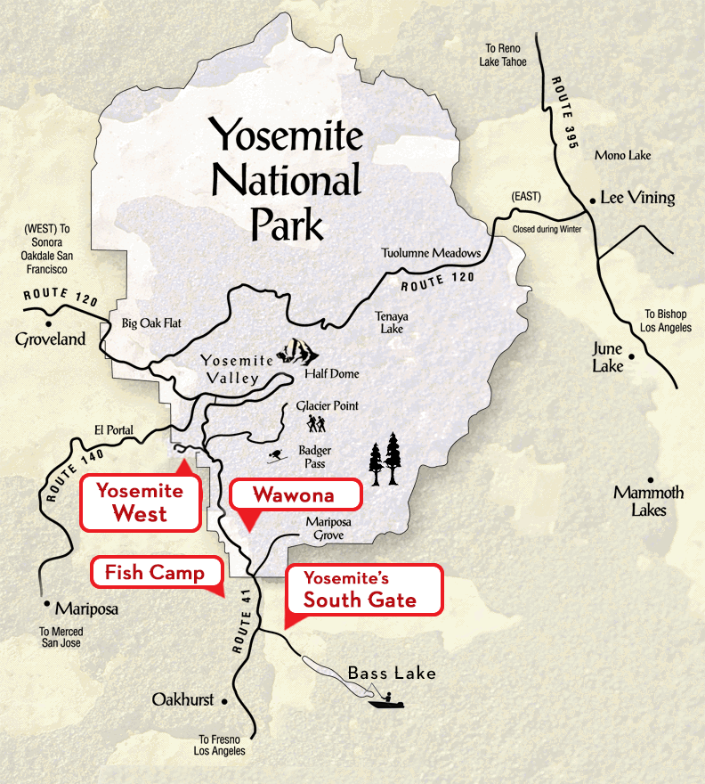 Yosemite's Scenic Wonders Location | Scenic Wonders Yosemite Cabins on san diego sights, washington sights, los angeles sights,